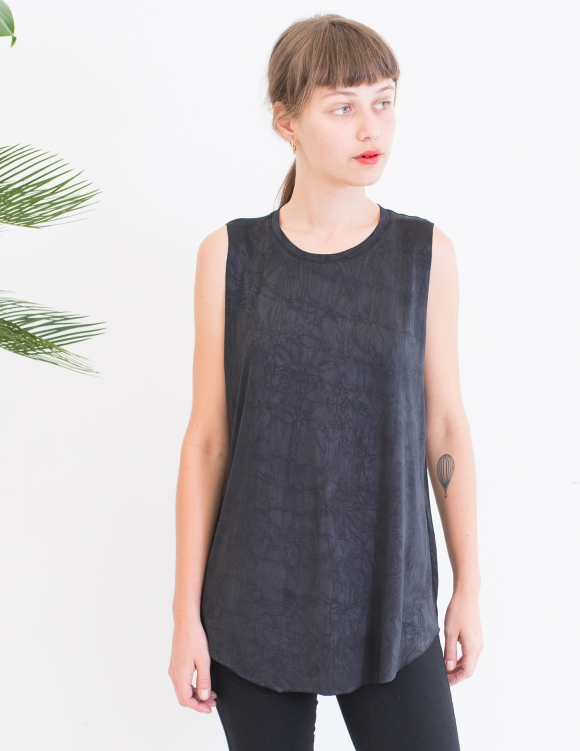 Alef Alef   אלף אלף - בגדי מעצבים   גופיית Rue שחור מבריק