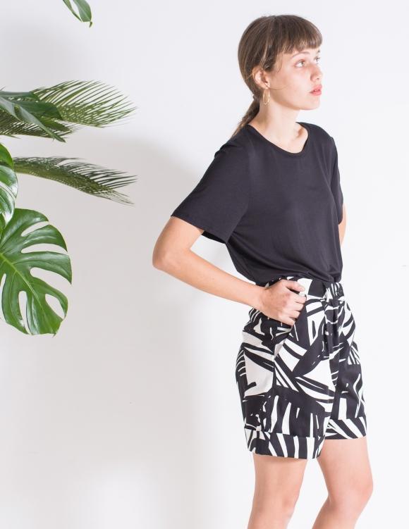 Alef Alef | אלף אלף - בגדי מעצבים | מכנסי Liliume הדפס עלים שחור לבן