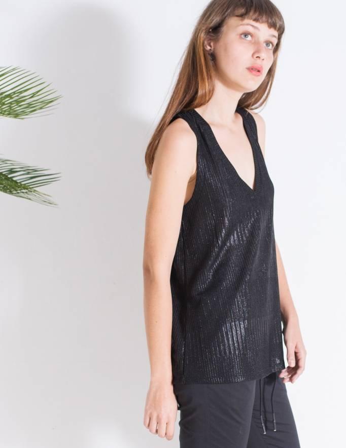 Alef Alef | אלף אלף - בגדי מעצבים | גופיית Violet שחור מבריק