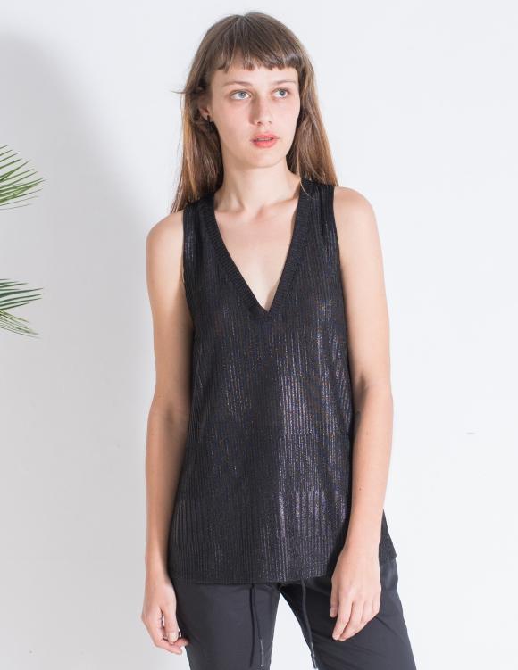 Alef Alef   אלף אלף - בגדי מעצבים   גופיית Violet שחור מבריק