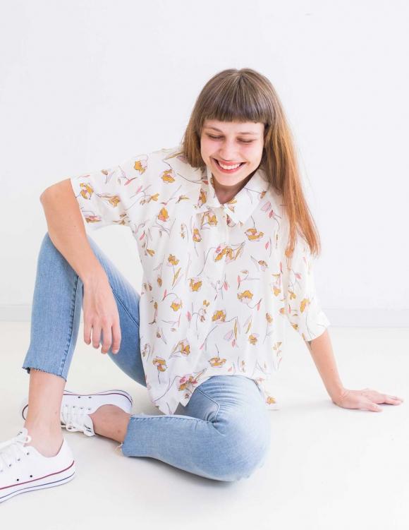 Alef Alef   אלף אלף - בגדי מעצבים   חולצת Bay לבן הדפס פרחים