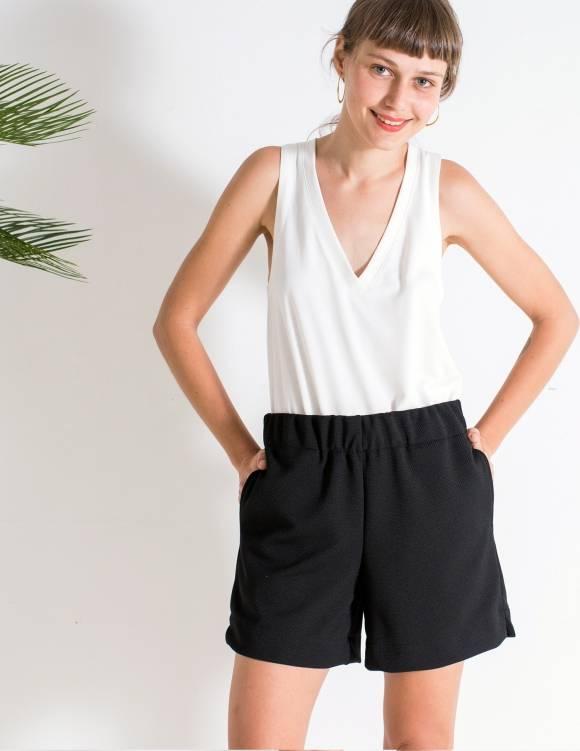 Alef Alef | אלף אלף - בגדי מעצבים | Sample | מכנסי Olive שחור טקסטורה