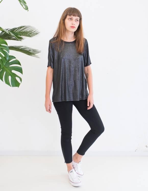 Alef Alef   אלף אלף - בגדי מעצבים   חולצת SAGE שחור מטאלי