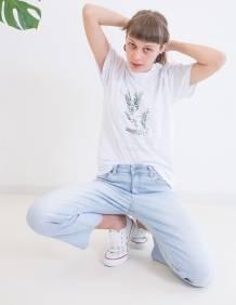 Alef Alef   אלף אלף - בגדי מעצבים   חולצת FLORA לבן דפוס ירוק