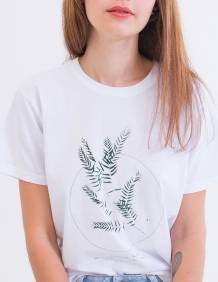 Alef Alef | אלף אלף - בגדי מעצבים | חולצת FLORA לבן דפוס ירוק