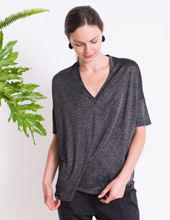 Alef Alef | אלף אלף - בגדי מעצבים | חולצת BUTTERCUP שחור כסף