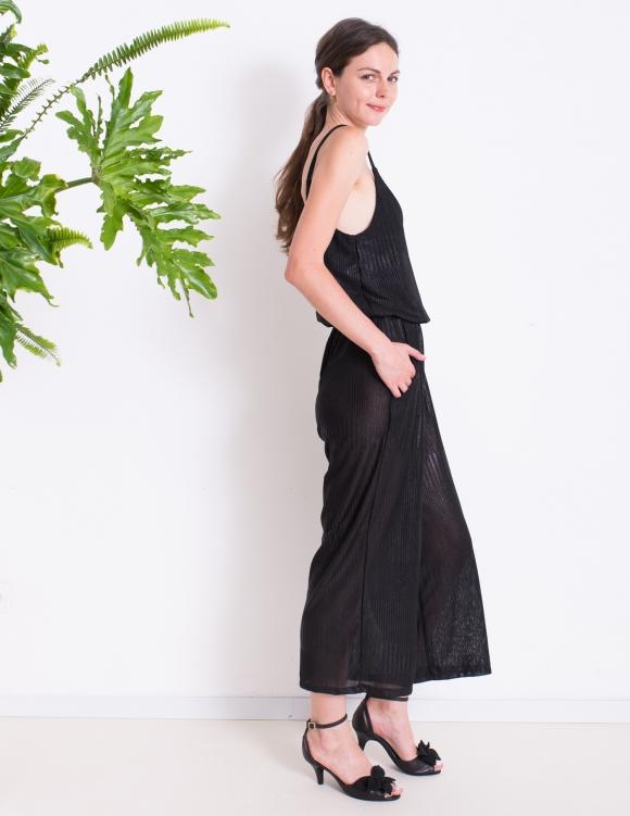 Alef Alef | אלף אלף - בגדי מעצבים | אוברול LILY שחור מבריק