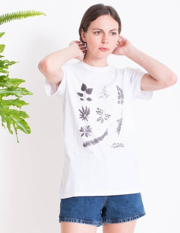 Alef Alef | אלף אלף - בגדי מעצבים | חולצת FLORA B  לבן דפוס שחור
