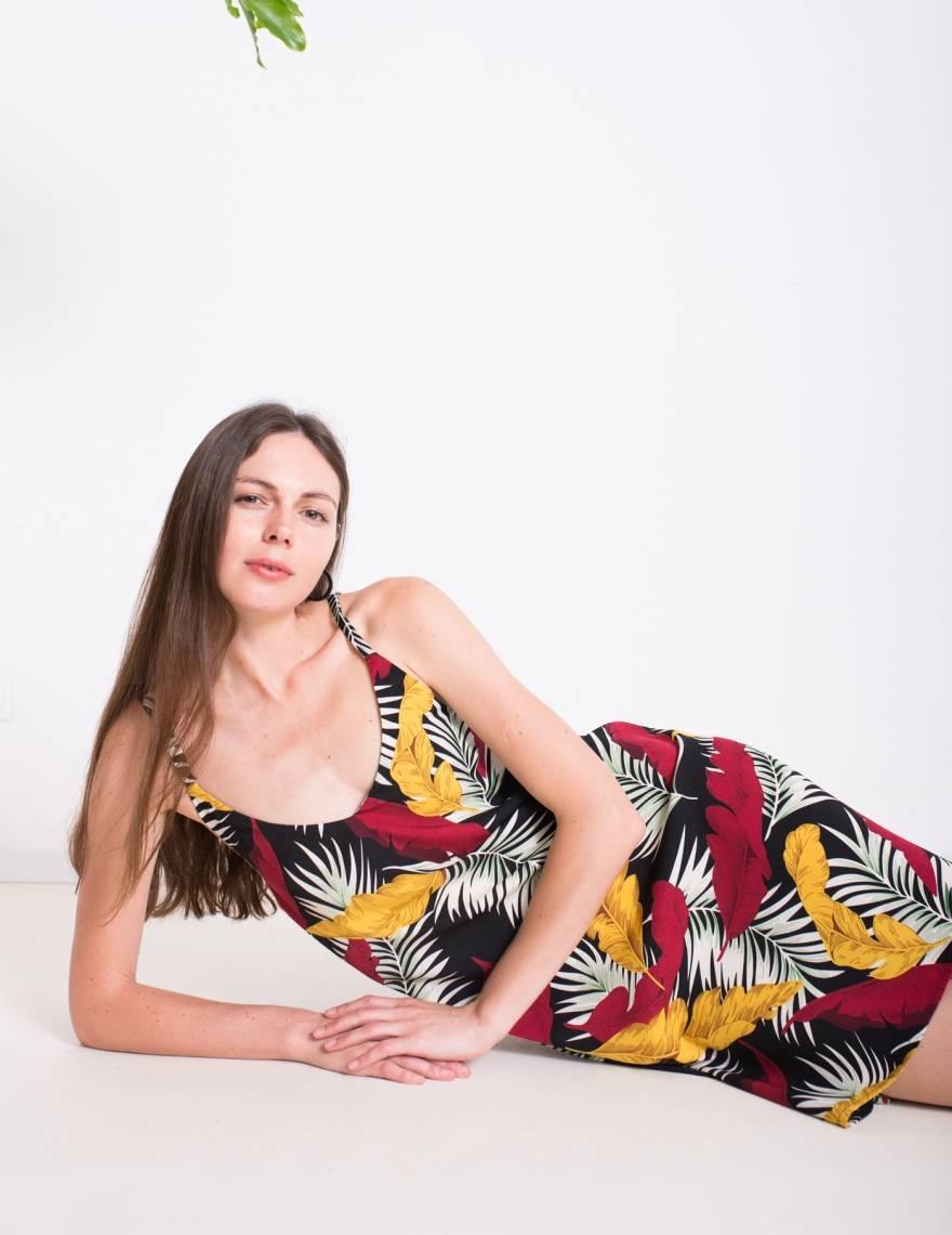 Alef Alef   אלף אלף - בגדי מעצבים   שמלת ROSE הדפס צבעוני