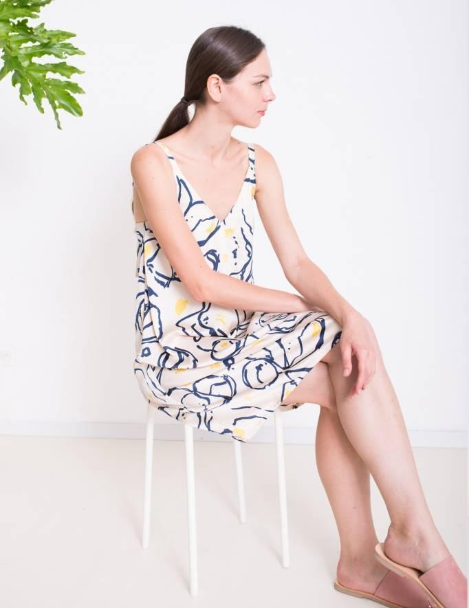 Alef Alef | אלף אלף - בגדי מעצבים | שמלת ROSE ניוד מודפס