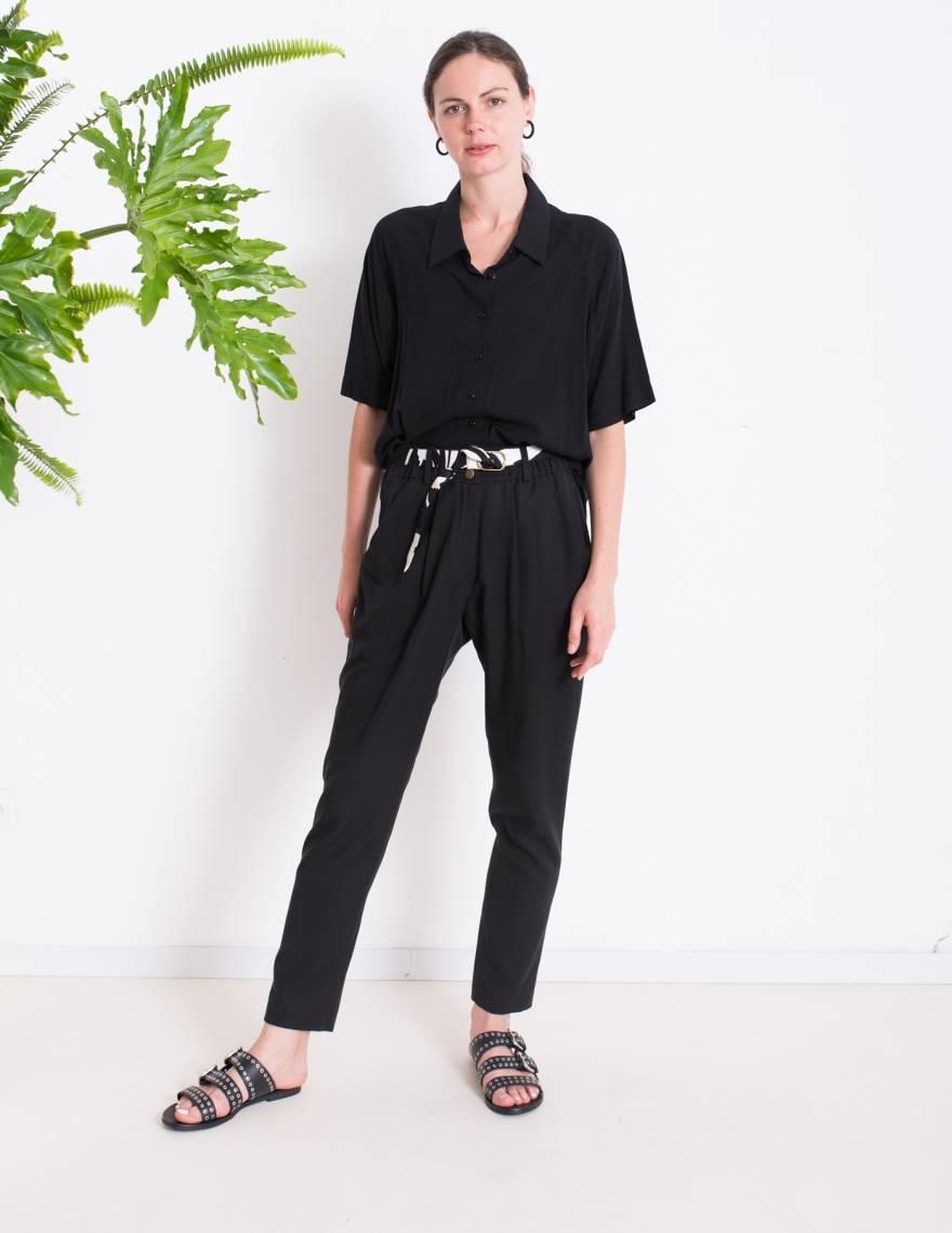 Alef Alef | אלף אלף - בגדי מעצבים | מכנסי NIGHT SHADE שחור