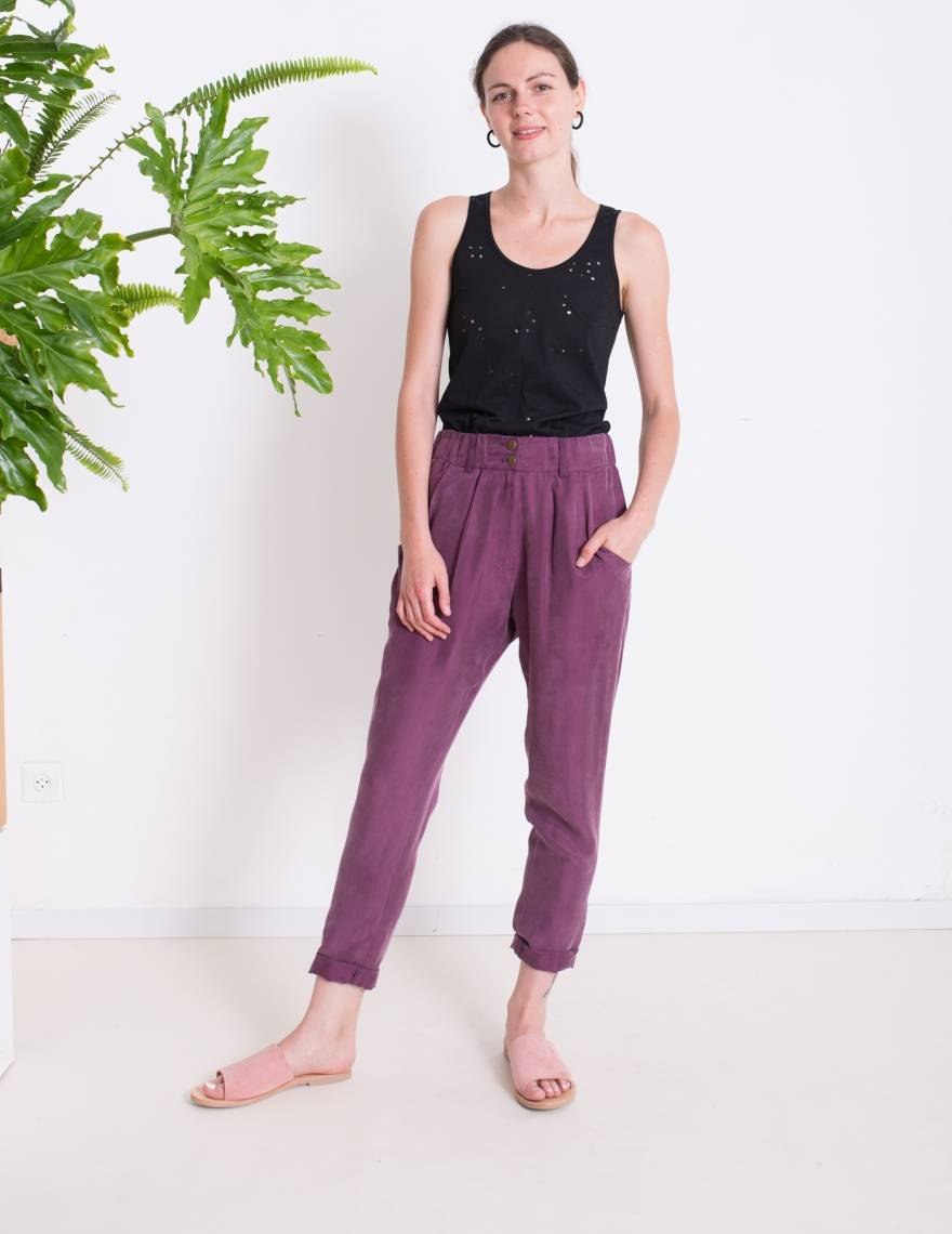 Alef Alef | אלף אלף - בגדי מעצבים | מכנסי NIGHT SHADE סגול