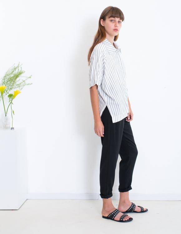 Alef Alef | אלף אלף - בגדי מעצבים | חולצת Bay לבן פס כפול