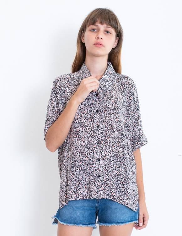 Alef Alef   אלף אלף - בגדי מעצבים   חולצת Bay שחור כתמים צבע