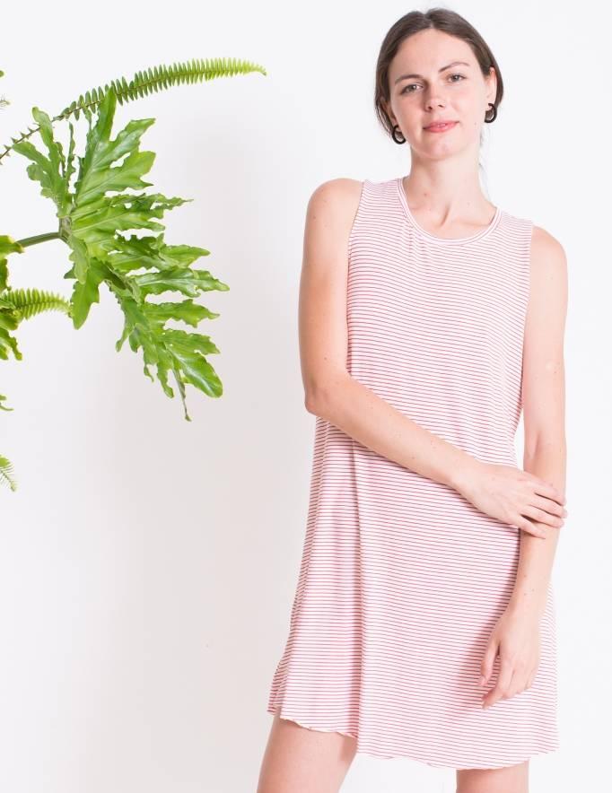 Alef Alef | אלף אלף - בגדי מעצבים | שמלת ROSEMARY לבן פס אדום