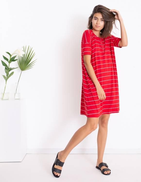 Alef Alef | אלף אלף - בגדי מעצבים | שמלת DAISY אדום פס לבן