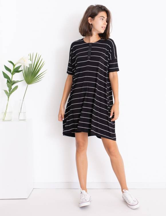 Alef Alef | אלף אלף - בגדי מעצבים | שמלת DAISY שחור פס לבן
