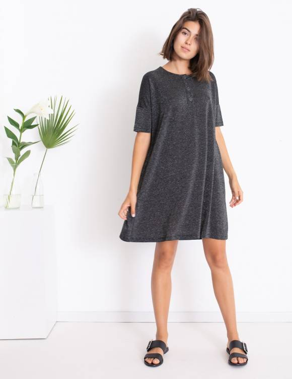 Alef Alef   אלף אלף - בגדי מעצבים   Sample   שמלת DAISY שחור כסף
