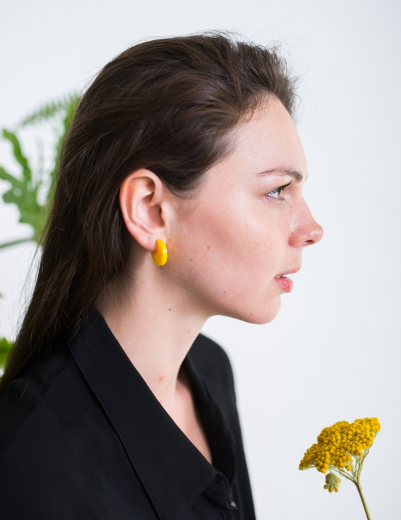Alef Alef   אלף אלף - בגדי מעצבים   עגיל Pepi  EF קטן צהוב
