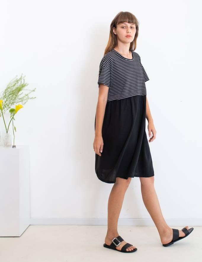 Alef Alef | אלף אלף - בגדי מעצבים | שמלת Veronica פסים שחור