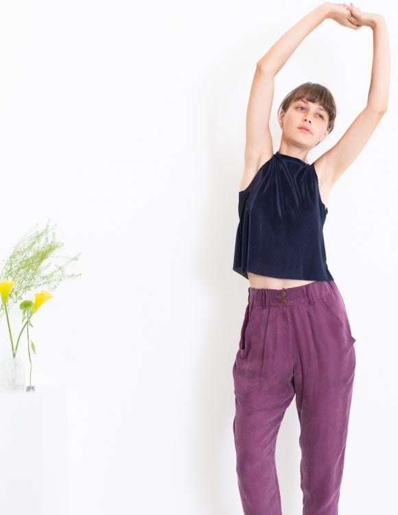 Alef Alef | אלף אלף - בגדי מעצבים | גופיית Little Mint  פליסה נייבי