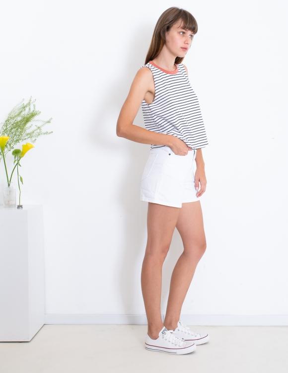 Alef Alef | אלף אלף - בגדי מעצבים | גופיית Little Mint  שחור פס לבן דק
