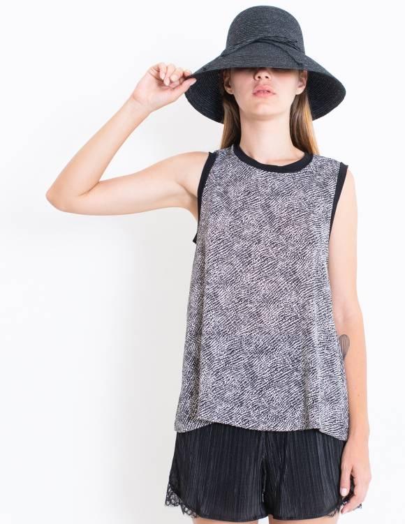 Alef Alef | אלף אלף - בגדי מעצבים | סאמפל | גופיית Poppy לבן כתמים שחור