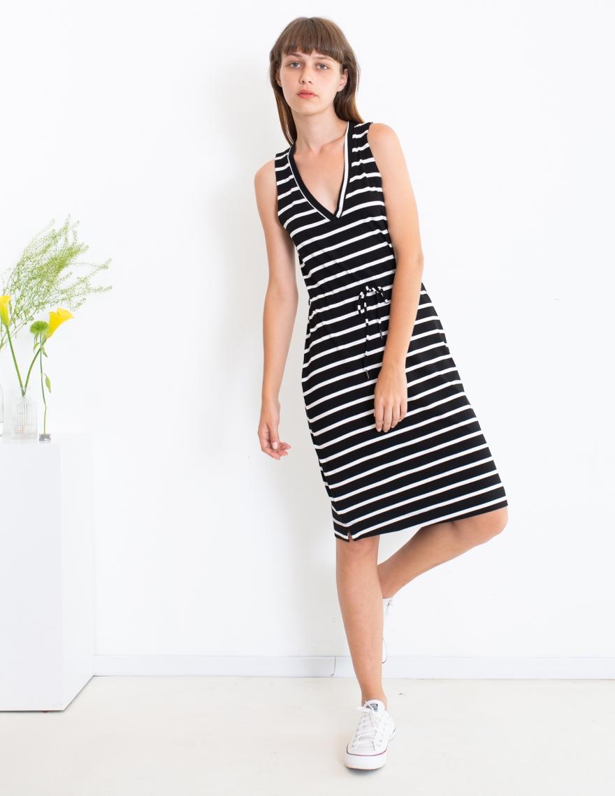 Alef Alef | אלף אלף - בגדי מעצבים | שמלת Bell פסים שחור לבן