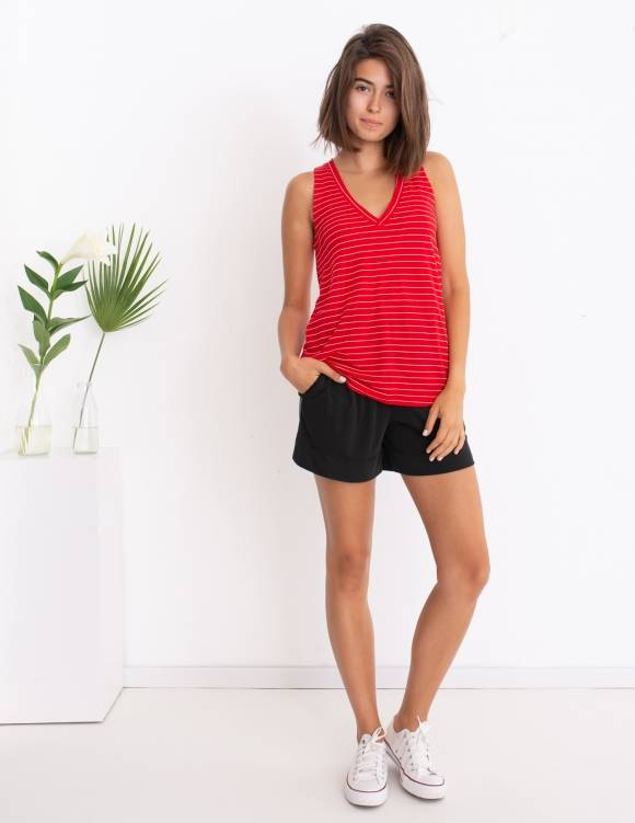 Alef Alef   אלף אלף - בגדי מעצבים   גופיית Violet אדום פס לבן