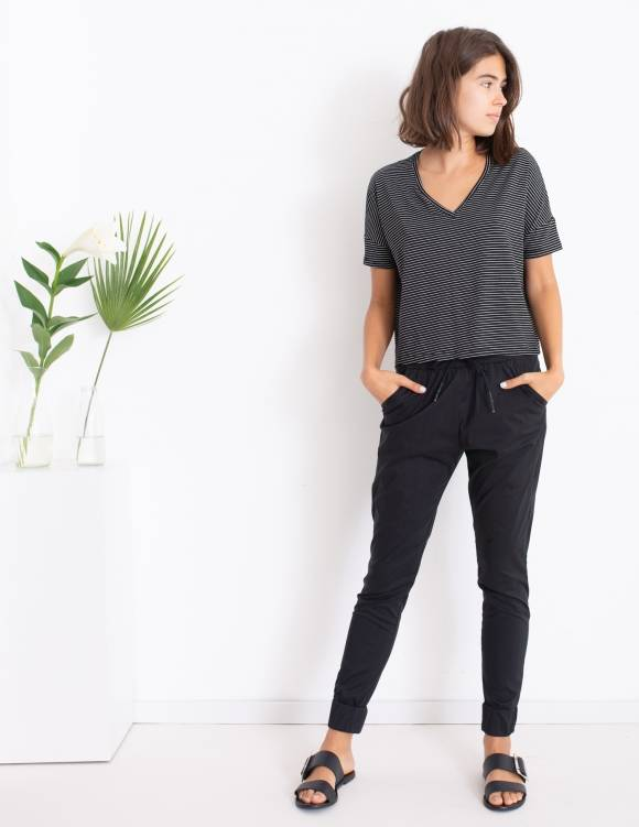 Alef Alef | אלף אלף - בגדי מעצבים | חולצת Lizzie שחור פס לבן