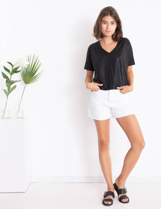 Alef Alef | אלף אלף - בגדי מעצבים | סאמפל | חולצת Lizzie שחור מבריק