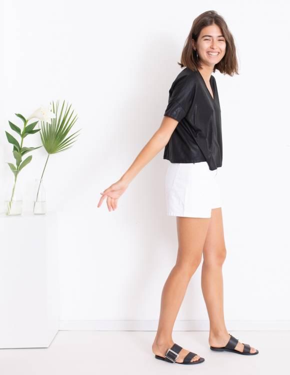 Alef Alef | אלף אלף - בגדי מעצבים | חולצת Lizzie שחור מבריק