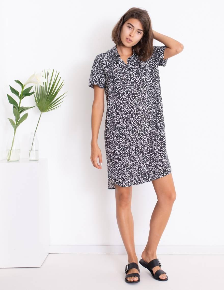Alef Alef | אלף אלף - בגדי מעצבים | שמלת DALIA לבן כתמים שחור