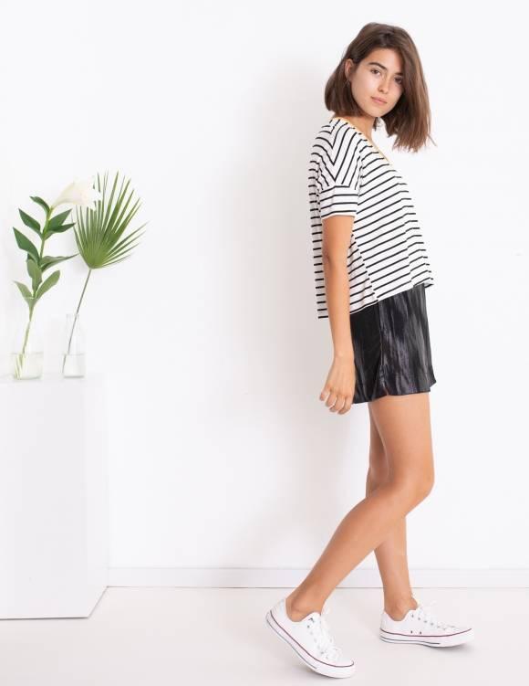 Alef Alef   אלף אלף - בגדי מעצבים   סאמפל   חולצת Lizzie לבן פס שחור