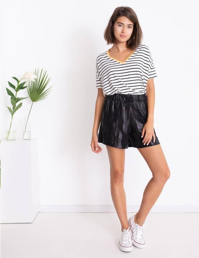 Alef Alef | אלף אלף - בגדי מעצבים | Sample | מכנסי Olive שחור מבריק