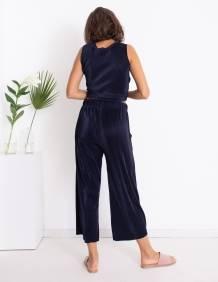Alef Alef   אלף אלף - בגדי מעצבים   מכנסי Sunflower כחול  פליסה