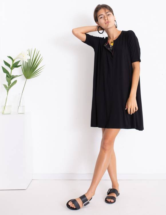 Alef Alef | אלף אלף - בגדי מעצבים | Sample | שמלת DAISY שחור הדפס בוטני