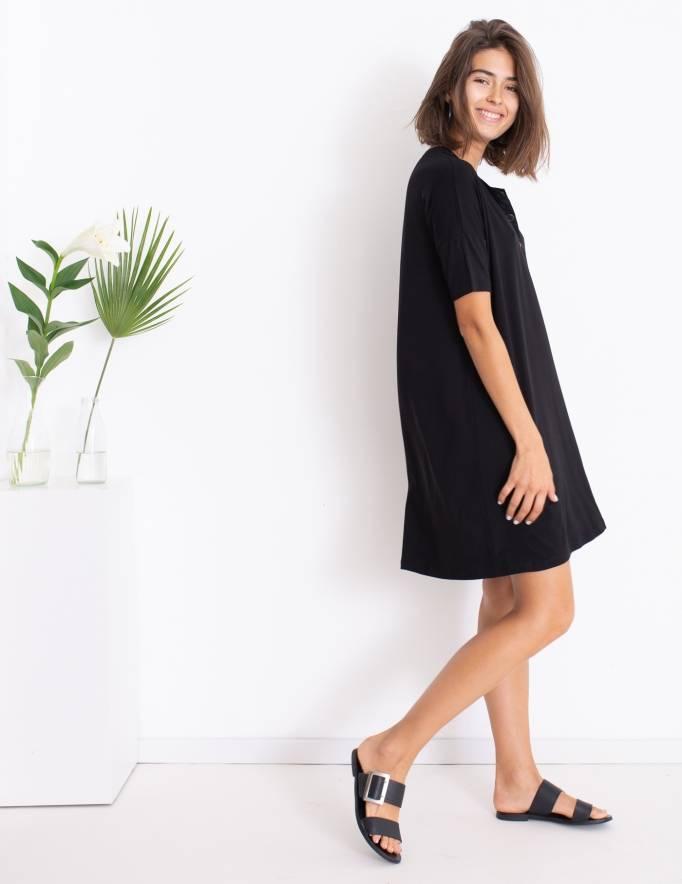 Alef Alef   אלף אלף - בגדי מעצבים   שמלת DAISY שחור הדפס בוטני