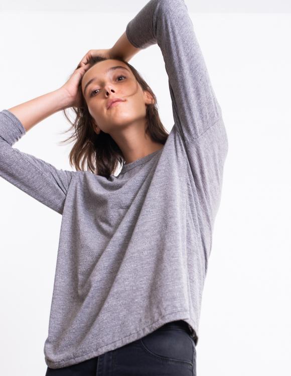 Alef Alef | אלף אלף - בגדי מעצבים | חולצת Damien אפור מלאנז'