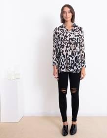Alef Alef | אלף אלף - בגדי מעצבים | חולצת Margo לבן דפוס שחור