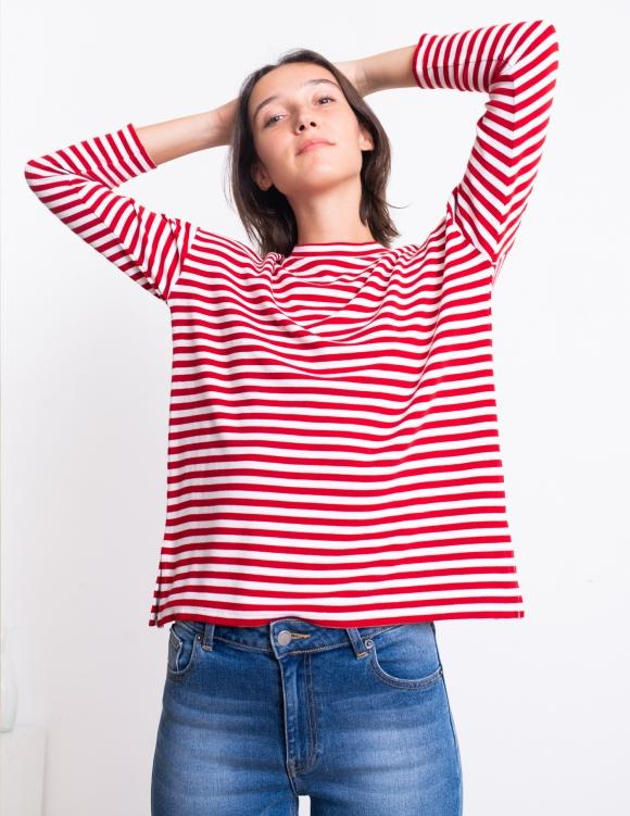 Alef Alef | אלף אלף - בגדי מעצבים | סווטשירט Martin אדום פס לבן