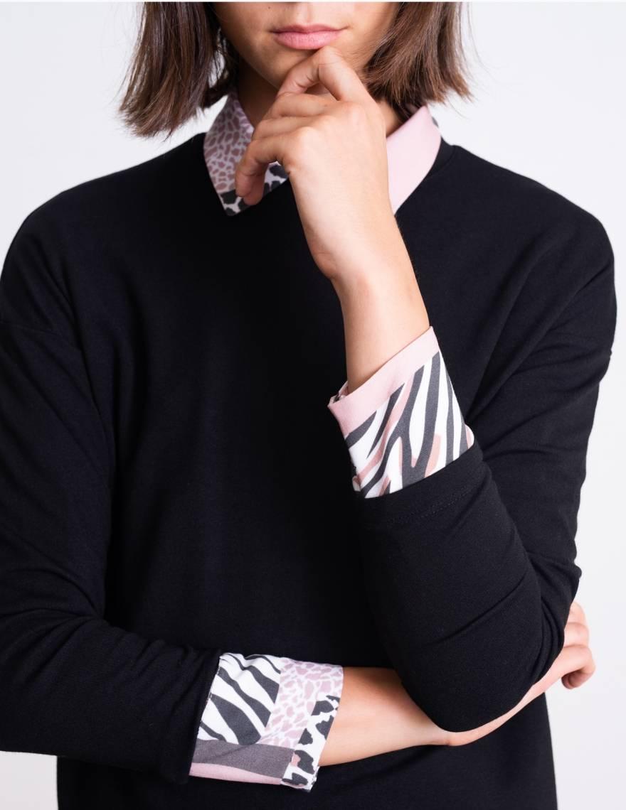 Alef Alef   אלף אלף - בגדי מעצבים   סווטשירט Martin שחור