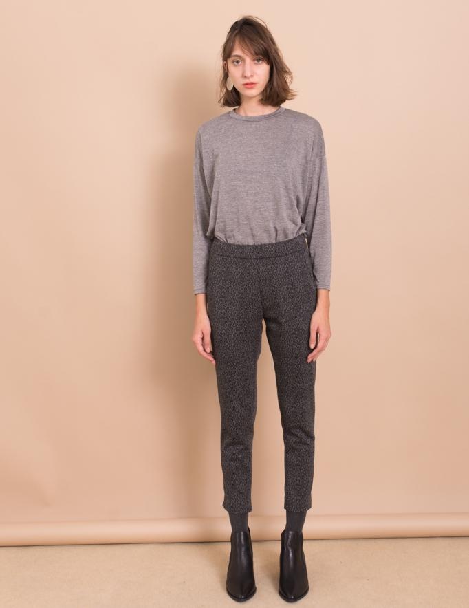 Alef Alef | אלף אלף - בגדי מעצבים | מכנסי Simone אפור/ שחור