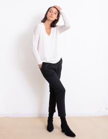 Alef Alef | אלף אלף - בגדי מעצבים | מכנסי Simone שחור פס לבן