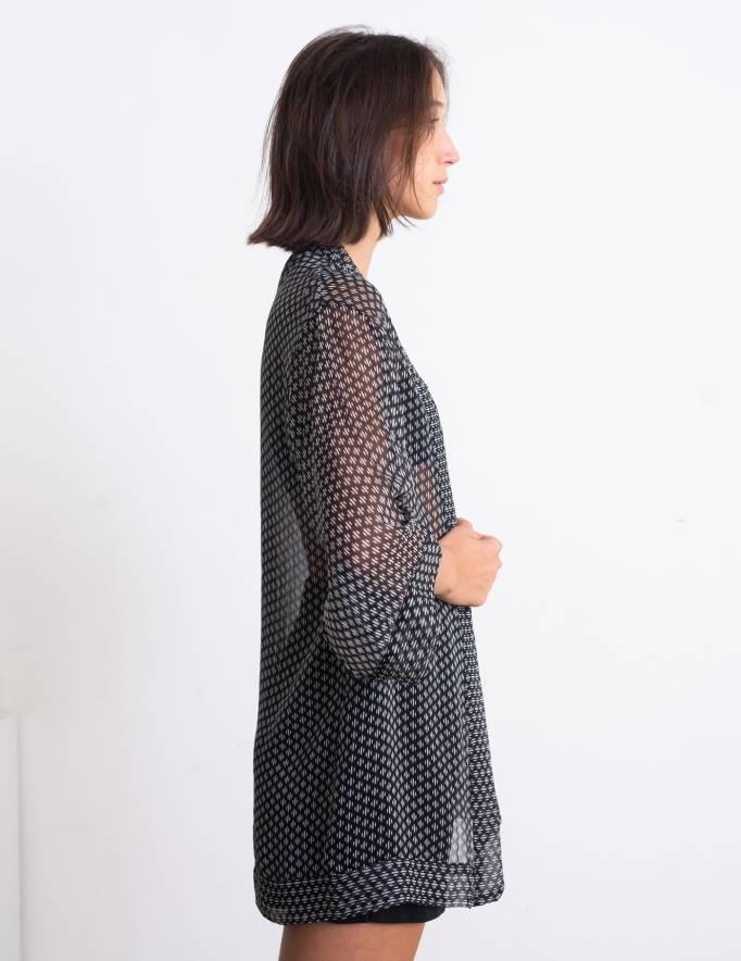 Alef Alef | אלף אלף - בגדי מעצבים | קימונו Lauren שחור כתמים לבן