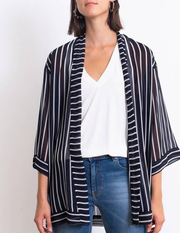 Alef Alef | אלף אלף - בגדי מעצבים | קימונו Lauren כחול פס לבן