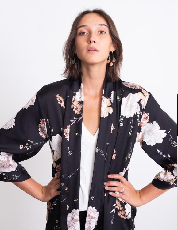 Alef Alef | אלף אלף - בגדי מעצבים | קימונו Lauren שחור פרחים