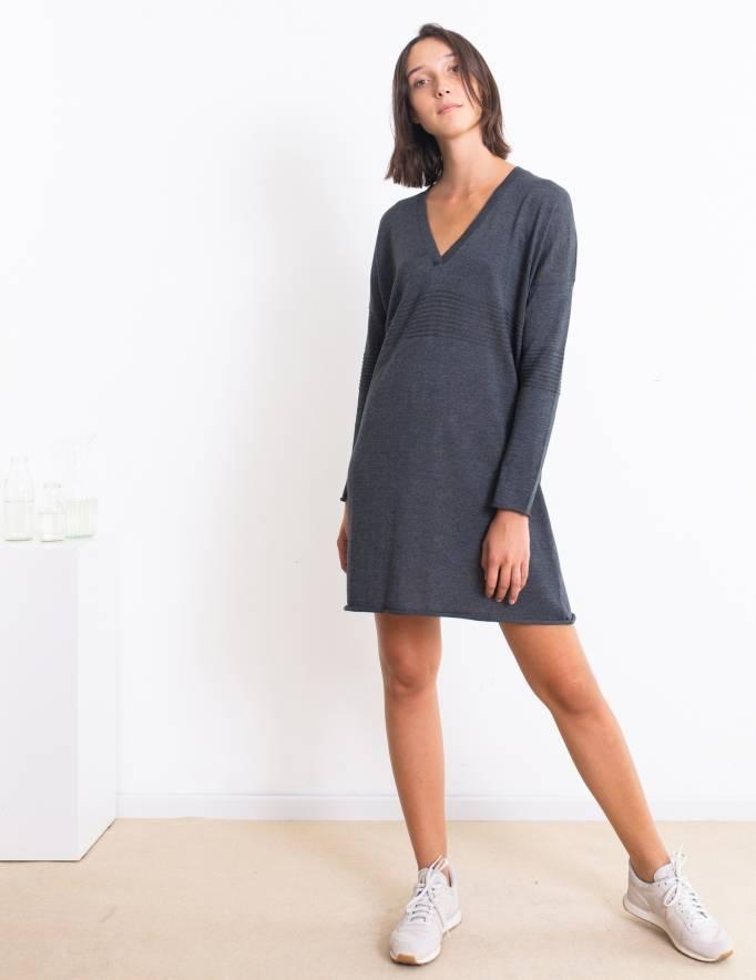 Alef Alef   אלף אלף - בגדי מעצבים   שמלת Audry אפור כהה
