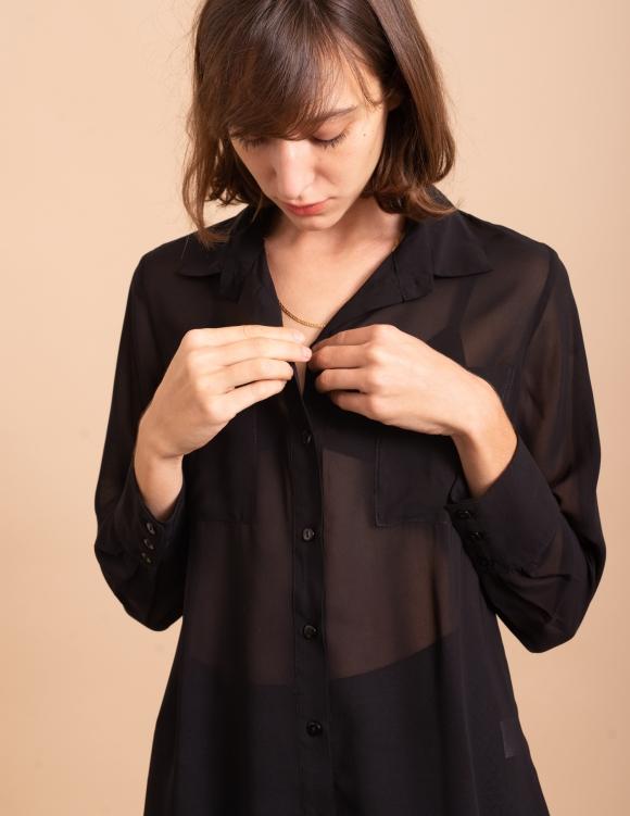 Alef Alef | אלף אלף - בגדי מעצבים | חולצת Margo שחור שקוף