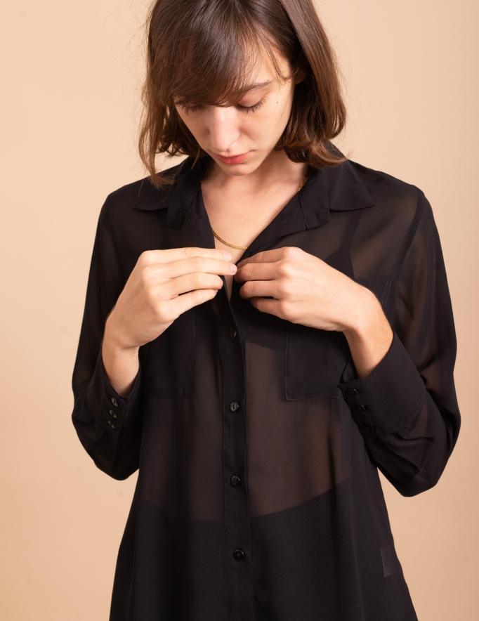 Alef Alef   אלף אלף - בגדי מעצבים   חולצת Margo שחור שקוף